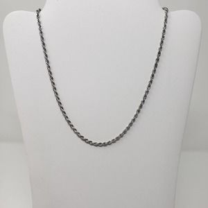 """Monet Silver Tone Twisted Rope Necklace Chain 18"""""""